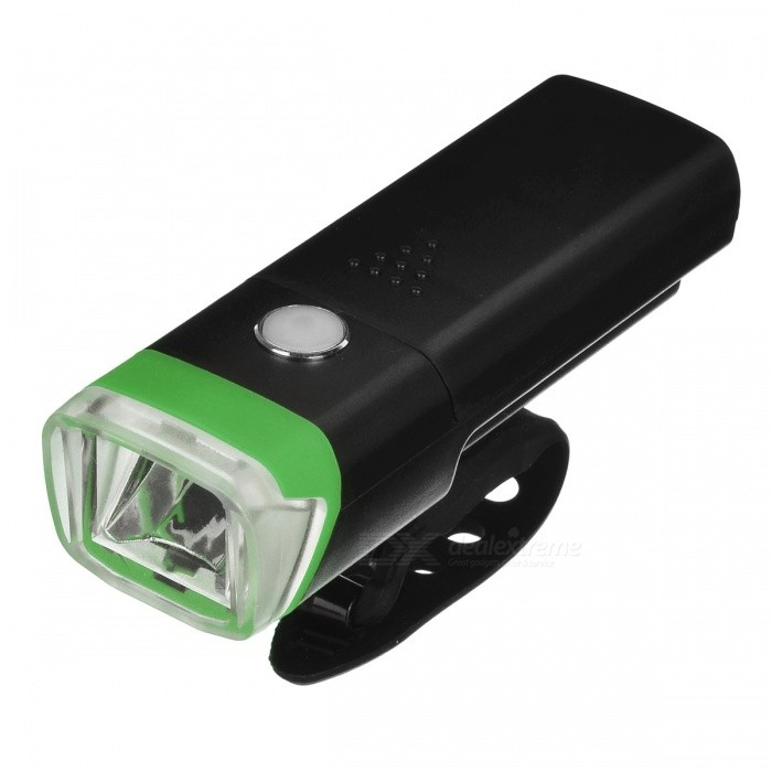 Super Bright Flashing LED 4-Mode Bicycle Light Headlight - GreenBike Light<br>Form  ColorBlack + GreenQuantity1 DX.PCM.Model.AttributeModel.UnitMaterialLED + PVAColor BINNeutral WhiteNumber of Emitters1Input Voltage4.5 DX.PCM.Model.AttributeModel.UnitBatteryAAA/3Battery included or notNoNumber of Modes4Mode ArrangementHi,Low,Fast Strobe,SOSSwitch TypeClicky SwitchSwitch LocationHead TwistyStrap/ClipNoApplicationHandle BarHolder Diameter2-4 DX.PCM.Model.AttributeModel.UnitWaterproofYesPacking List1 x Bicycle Light<br>