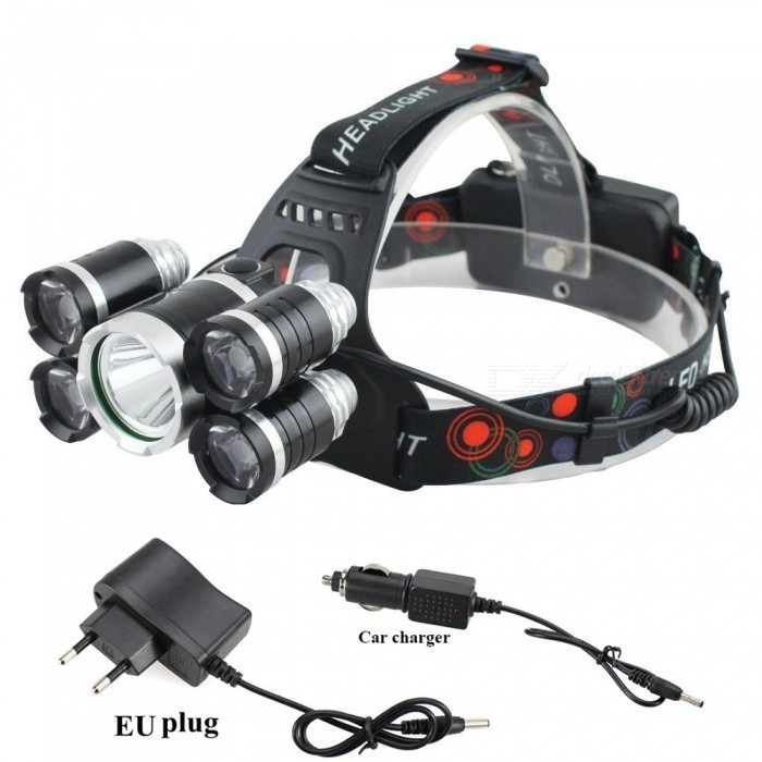ZHAOYAO XM-L T6 Waterproof Super Bright 5-Head 4-Mode LED HeadlightHeadlamps<br>Form  ColorBlack + Silver + Multi-ColoredQuantity1 setMaterialAluminum alloyEmitter BrandCreeLED TypeXM-LEmitter BINT6Color BINWhiteNumber of Emitters5Working Voltage   3.7-7.4V VPower Supply18650Current2.5 ATheoretical Lumens5000 lumensActual Lumens500-4500 lumensRuntimeDepends on the battery quantities. hour hour hour hourNumber of Modes4Mode ArrangementHi,Mid,Low,Slow StrobeMode MemoryNoSwitch TypeClicky SwitchSwitch LocationHeadLensGlassReflectorAluminum SmoothBand Length20 cmCompatible Circumference40-80cmBeam Range100-300 mPacking List1 x Headlight1 x EU charger1 x Car charger2 x 18650 batteries<br>