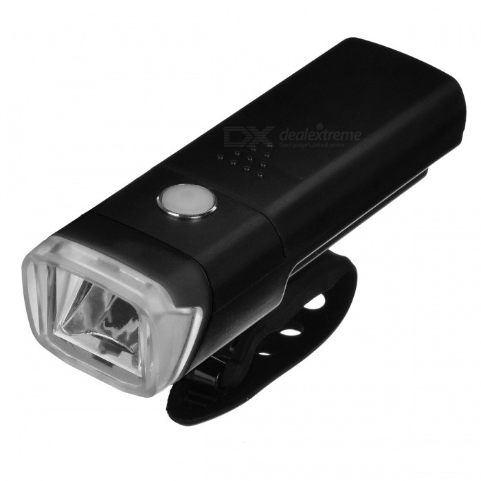 Super Bright Flashing LED 4-Mode Bicycle Light Headlight - BlackBike Light<br>Form  ColorBlackQuantity1 setMaterialLED + PVAColor BINNeutral WhiteNumber of Emitters1Input Voltage4.5 VBatteryAAA/3Battery included or notNoNumber of Modes4Mode ArrangementHi,Low,Fast Strobe,SOSSwitch TypeClicky SwitchSwitch LocationHead TwistyStrap/ClipNoApplicationHandle BarHolder Diameter2-4 cmWaterproofYesPacking List1 x Bicycle Light<br>