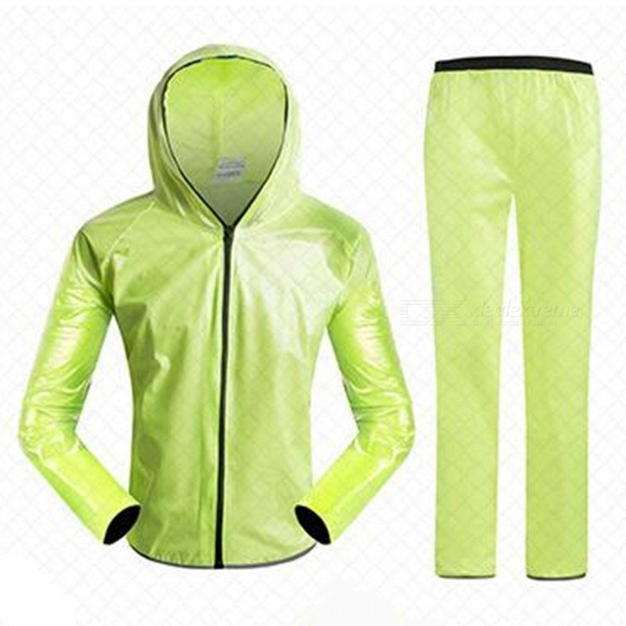 Outdoor Cycling Separated Type Raincoat for Men Women - Green (XXL)Form  ColorGreenSizeXXLQuantity1 DX.PCM.Model.AttributeModel.UnitMaterialPolyester + TPUGenderUnisexSeasonsFour SeasonsShoulder Width65 DX.PCM.Model.AttributeModel.UnitChest Girth124 DX.PCM.Model.AttributeModel.UnitSleeve Length86 DX.PCM.Model.AttributeModel.UnitTotal Length78 DX.PCM.Model.AttributeModel.UnitWaist72 DX.PCM.Model.AttributeModel.UnitHip Girth128 DX.PCM.Model.AttributeModel.UnitTotal Length114 DX.PCM.Model.AttributeModel.UnitThigh Girth32 DX.PCM.Model.AttributeModel.UnitCrotch Length35 DX.PCM.Model.AttributeModel.UnitLength Of Hem29 DX.PCM.Model.AttributeModel.UnitSuitable for Height178-185 DX.PCM.Model.AttributeModel.UnitBest UseCycling,Mountain Cycling,Recreational Cycling,Road Cycling,Bike commuting &amp; touringSuitable forAdultsTypeLong Pants,Others,Long separation raincoatPacking List1 x Raincoat1 x Trousers2 x Receive bags<br>