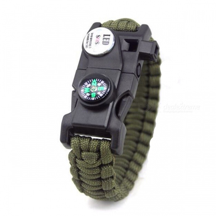 Outdoor Emergency Survival Paracord Bracelet w/ SOS LED - GreenFirst Aid<br>Form  ColorGreenQuantity1 DX.PCM.Model.AttributeModel.UnitMaterialNylon + Metal + PlasticBest UseFamily &amp; car camping,Mountaineering,TravelPacking List1 x Bracelet<br>