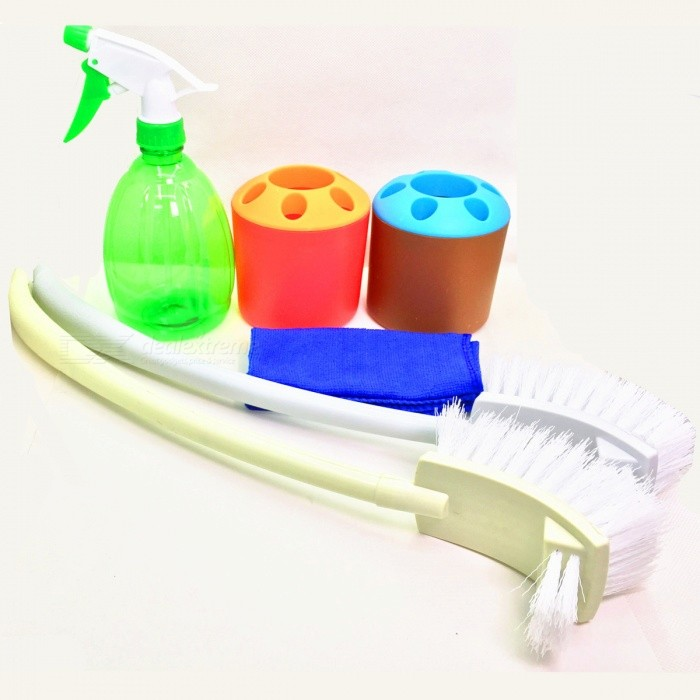6-Piece Bathroom Cleaning Tool Toilet Brush Kit - MulticolorBathroom Gadgets<br>Form  ColorWhite + Green + Multi-ColoredMaterialPlasticQuantity1 DX.PCM.Model.AttributeModel.UnitPacking List2 x Toilet brushes2 x Toothbrush barrels1 x Towel1 x Watering can<br>