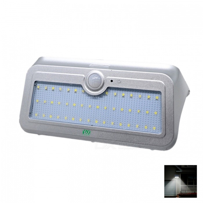 YWXLight 4.5W 46-LED Solar Powered Light for Outdoor Lighting - SilverSolar Lamps<br>Form  ColorSilverMaterialPCQuantity1 DX.PCM.Model.AttributeModel.UnitWaterproof LevelIP65Emitter TypeOthers,2835 SMD LEDPower4.5 DX.PCM.Model.AttributeModel.UnitWorking Voltage   5.5 DX.PCM.Model.AttributeModel.UnitLumens350-450 DX.PCM.Model.AttributeModel.UnitBattery Charging Time7 - 8 HoursPacking List1 x YWXLight  Solar-Powered Light1 x User Manual (English)<br>