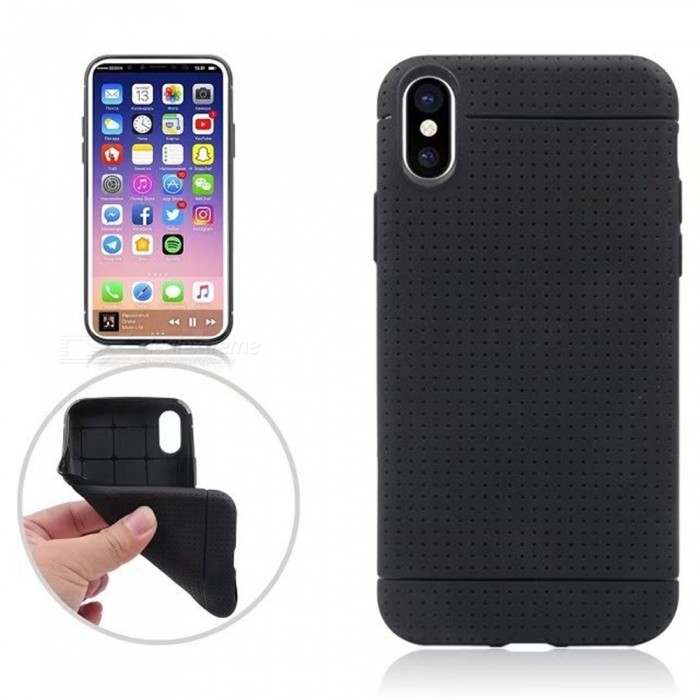 Mini Smile Non-slip Protective TPU Back Case for IPHONE X - BlackTPU Cases<br>Form  ColorBlackModelI8-FQuantity1 pieceMaterialTPUCompatible ModelsOthers,IPHONE XDesignSolid ColorStyleBack CasesPacking List1 x Back case<br>
