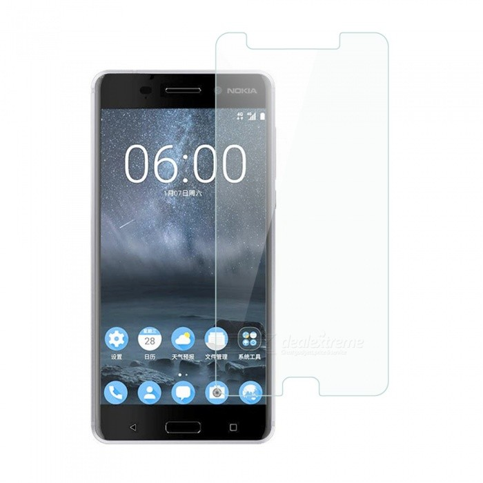 Dayspirit Tempered Glass Screen Protector for Nokia 6Screen Protectors<br>Form  ColorTransparentScreen TypeGlossyModelN/AMaterialTempered glassQuantity1 DX.PCM.Model.AttributeModel.UnitCompatible ModelsNokia 6FeaturesTempered glassPacking List1 x Tempered glass screen protector1 x Dust cleaning film 1 x Alcohol prep pad<br>