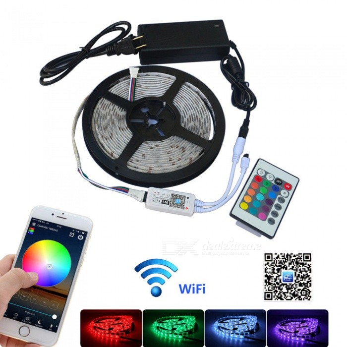 Jiawen 5M Waterproof IP65 RGBW Smart Home Wi-Fi LED Strip LightSmart Lighting<br>Form  ColorWhiteColor BINRGBWMaterialPlasticQuantity1 DX.PCM.Model.AttributeModel.UnitPower30WRated VoltageAC 100-240 DX.PCM.Model.AttributeModel.UnitChip BrandCreeEmitter Type5050 SMD LEDTotal Emitters300Color Temperature6000-6500KWavelength700-635nm(Red), 650-490nm(Green), 490-450nm(Blue)Theoretical Lumens2400 DX.PCM.Model.AttributeModel.UnitActual Lumens2400 DX.PCM.Model.AttributeModel.UnitPower AdapterUS PlugPacking List1 x 5M RGBW Strip Light1 x  Wi-Fi Control Box1 x RF Remote Controller1 x DC12V Power Adapter<br>