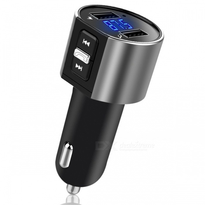 Car MP3 Player Wireless Bluetooth FM Transmitter Charger w/ Dual USBFM Transmitters and Players<br>Form  ColorBlackModel-Quantity1 DX.PCM.Model.AttributeModel.UnitMaterialPlasticShade Of ColorBlackFM Frequency Range87.5 MHz - 108.0 MHzFM Transmit Distance10 DX.PCM.Model.AttributeModel.UnitAudio FormatsOthers,MP3, WMAInterface/PortOthers,USBExternal Memory Max. Support32 DX.PCM.Model.AttributeModel.UnitPower SupplyOthers,5 DX.PCM.Model.AttributeModel.UnitPacking List1 x FM Transmitter1 x User Manual<br>