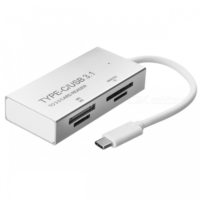 BSTUO USB3.1 Type-C Aluminium Alloy to MS/M2/TF/SD Card Reader -SilverLaptop/Tablet Cable&amp;Adapters<br>Form  ColorSilverModelN/AQuantity1 DX.PCM.Model.AttributeModel.UnitShade Of ColorSilverMaterialAluminium alloyInterfaceOthers,USB3.1 type-c/MS/M2/TF/SDTypeLaptopsCompatible BrandAPPLE,Dell,HP,Toshiba,Acer,Lenovo,Samsung,MSI,Sony,IBM,Asus,ThinkpadTransmission Rate10 DX.PCM.Model.AttributeModel.UnitPacking List1 x Type-C Card Reader<br>