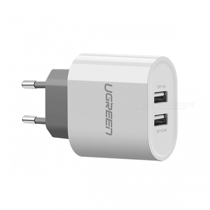 Ugreen Universal Portable Dual USB Wall Charger  - White (EU Plug)AC Chargers<br>Form  ColorWhite (EU Plug)ModelCD104MaterialABS + PCQuantity1 pieceCompatible ModelsUniversalInput VoltageAC10~240 VOutput Current5V/2.4A <br>5V/1 AOutput Voltage5 VSplit adapter number2Power AdapterEU PlugLED IndicatorNoCable LengthN/A cmCertificationFCC,RoHS,ULPacking List1 x USB Charger<br>