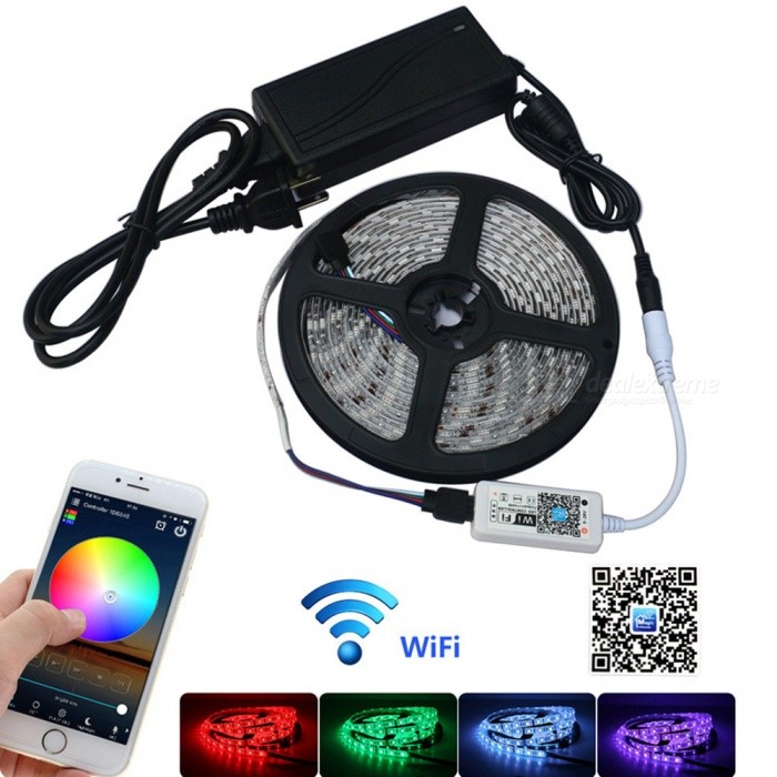 JIAWEN 5m Waterproof IP65 Smart Home Wi-Fi RGB LED Strip Light KitSmart Lighting<br>Form  ColorWhiteColor BINRGBMaterialPlasticQuantity1 DX.PCM.Model.AttributeModel.UnitPower30WRated VoltageAC 100-240 DX.PCM.Model.AttributeModel.UnitChip BrandCreeEmitter Type5050 SMD LEDTotal Emitters300Wavelength700-635nm(Red) 650-490nm(Green) 490-450nm(Blue)Theoretical Lumens2400 DX.PCM.Model.AttributeModel.UnitActual Lumens2400 DX.PCM.Model.AttributeModel.UnitPower AdapterUS PlugPacking List1 x 5M RGB strip1 x Wi-Fi Controller1 x DC12V Power Adapter<br>