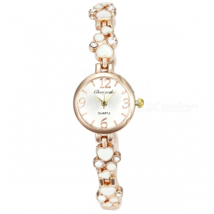 Chaoyada 1136 Rhinestone Bracelet Womens Elegant Quartz WatchWomens Bracelet Watches<br>Form  ColorGolden + WhiteModel1136Quantity1 DX.PCM.Model.AttributeModel.UnitShade Of ColorGoldCasing MaterialElectroplating steelWristband MaterialElectroplating steelSuitable forAdultsGenderWomenStyleWrist WatchTypeFashion watchesDisplayAnalogDisplay Format12 hour formatMovementQuartzWater ResistantFor daily wear. Suitable for everyday use. Wearable while water is being splashed but not under any pressure.Dial Diameter2.4 DX.PCM.Model.AttributeModel.UnitDial Thickness0.8 DX.PCM.Model.AttributeModel.UnitBand Width0.8 DX.PCM.Model.AttributeModel.UnitWristband Length21.2 DX.PCM.Model.AttributeModel.UnitBattery1 x LR626 battery (included)Packing List1 x Watch<br>
