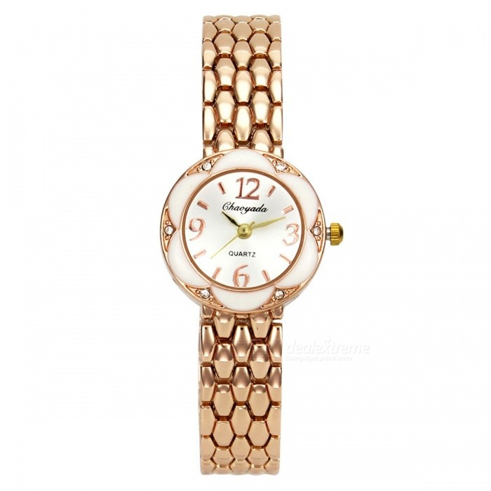 Chaoyada 1134 Rhinestone Bracelet Womens Elegant Quartz WatchWomens Bracelet Watches<br>Form  ColorGolden + WhiteModel1134Quantity1 pieceShade Of ColorGoldCasing MaterialElectroplating steelWristband MaterialElectroplating steelSuitable forAdultsGenderWomenStyleWrist WatchTypeFashion watchesDisplayAnalogDisplay Format12 hour formatMovementQuartzWater ResistantFor daily wear. Suitable for everyday use. Wearable while water is being splashed but not under any pressure.Dial Diameter2.7 cmDial Thickness0.9 cmBand Width1.2 cmWristband Length19 cmBattery1 x LR626 battery (included)Packing List1 x Watch<br>