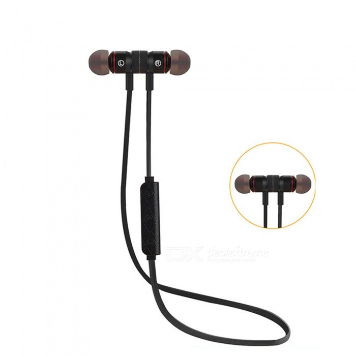 Eastor M9 Sports Bluetooth Magnetic In-Ear Earphone with Mic - BlackHeadphones<br>Form  ColorBlackBrandOthers,EastorModelM9MaterialPlasticQuantity1 DX.PCM.Model.AttributeModel.UnitConnectionBluetoothBluetooth VersionBluetooth V4.1Bluetooth ChipCSROperating Range10MConnects Two Phones SimultaneouslyYesHeadphone StyleBilateral,Earbud,In-EarWaterproof LevelOthers,SweatproofApplicable ProductsUniversalHeadphone FeaturesPhone Control,Magnetic Adsorption,Noise-Canceling,Volume Control,With Microphone,Lightweight,Portable,For Sports &amp; ExerciseSupport Memory CardNoSupport Apt-XNoBattery TypeLi-ion batteryBuilt-in Battery Capacity 75 DX.PCM.Model.AttributeModel.UnitStandby Time60 DX.PCM.Model.AttributeModel.UnitTalk Time3-4 DX.PCM.Model.AttributeModel.UnitPacking List1 x Earphones1 x Charging Cable4 x Silicone rubber tips<br>