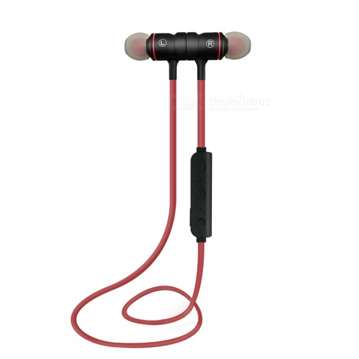 Eastor M9 Sports Bluetooth Magnetic In-Ear Earphone with Mic - RedHeadphones<br>Form  ColorRedBrandOthers,EastorModelM9MaterialPlasticQuantity1 DX.PCM.Model.AttributeModel.UnitConnectionBluetoothBluetooth VersionBluetooth V4.1Bluetooth ChipCSROperating Range10MConnects Two Phones SimultaneouslyYesHeadphone StyleBilateral,Earbud,In-EarWaterproof LevelOthers,SweatproofApplicable ProductsUniversalHeadphone FeaturesPhone Control,Magnetic Adsorption,Noise-Canceling,Volume Control,With Microphone,Lightweight,Portable,For Sports &amp; ExerciseSupport Memory CardNoSupport Apt-XNoBattery TypeLi-ion batteryBuilt-in Battery Capacity 75 DX.PCM.Model.AttributeModel.UnitStandby Time60 DX.PCM.Model.AttributeModel.UnitTalk Time3-4 DX.PCM.Model.AttributeModel.UnitPacking List1 x Earphone1 x Charging Cable4 x Silicone rubber tips<br>