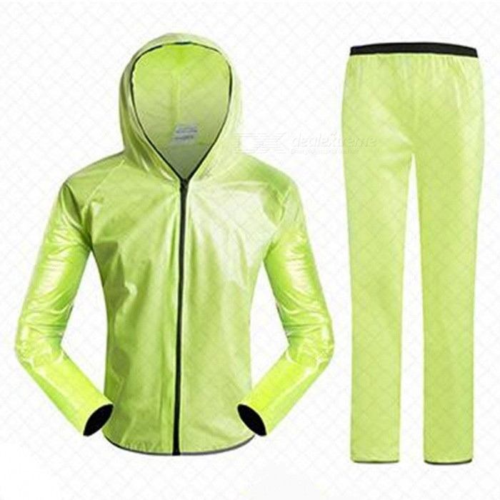 Outdoor Cycling Separated Type Raincoat for Men Women - Green (XL)Form  ColorGreenSizeXLQuantity1 DX.PCM.Model.AttributeModel.UnitMaterialPolyester + TPUGenderUnisexSeasonsFour SeasonsShoulder Width63 DX.PCM.Model.AttributeModel.UnitChest Girth120 DX.PCM.Model.AttributeModel.UnitSleeve Length84 DX.PCM.Model.AttributeModel.UnitTotal Length76 DX.PCM.Model.AttributeModel.UnitWaist68 DX.PCM.Model.AttributeModel.UnitHip Girth124 DX.PCM.Model.AttributeModel.UnitTotal Length110 DX.PCM.Model.AttributeModel.UnitThigh Girth30 DX.PCM.Model.AttributeModel.UnitCrotch Length34 DX.PCM.Model.AttributeModel.UnitLength Of Hem28 DX.PCM.Model.AttributeModel.UnitSuitable for Height173-178 DX.PCM.Model.AttributeModel.UnitBest UseCycling,Mountain Cycling,Recreational Cycling,Road Cycling,Bike commuting &amp; touringSuitable forAdultsTypeLong Pants,Others,Long separation raincoatPacking List1 x Raincoat1 x Trousers2 x Receive bags<br>