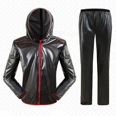 Outdoor Cycling Separated Type Raincoat for Men Women - Black (XXL)