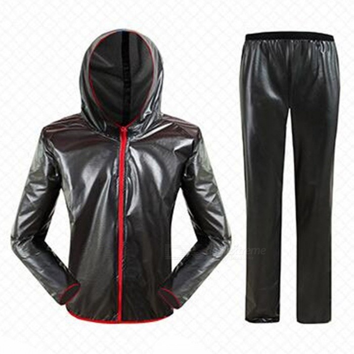 Outdoor Cycling Separated Type Raincoat for Men Women - Black (XL)Form  ColorBlackSizeXLQuantity1 pieceMaterialPolyester + TPUGenderUnisexSeasonsFour SeasonsShoulder Width65 cmChest Girth120 cmSleeve Length84 cmTotal Length76 cmWaist68 cmHip Girth124 cmTotal Length110 cmThigh Girth30 cmCrotch Length34 cmLength Of Hem28 cmSuitable for Height173-178 cmBest UseCycling,Mountain Cycling,Recreational Cycling,Road Cycling,Bike commuting &amp; touringSuitable forAdultsTypeLong Pants,Others,Long separation raincoatPacking List1 x Raincoat1 x Trousers2 x Receive bags<br>