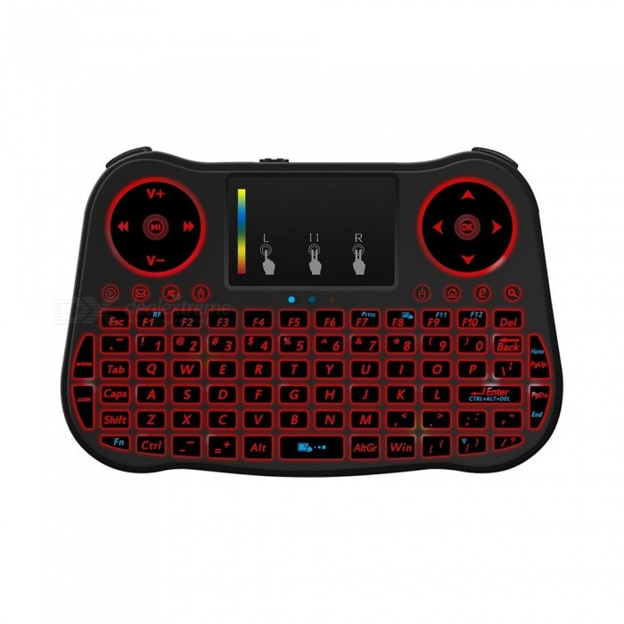 MT08 2.4GHz Mini Wireless Keyboard with 7-Color Backlit - BlackWireless Keyboards<br>Form  ColorBlack + MulticolorMaterialABSQuantity1 DX.PCM.Model.AttributeModel.UnitInterfaceUSB 2.0Wireless or Wired2.4G WirelessBluetooth VersionNoCompatible BrandAPPLE,Dell,HP,Toshiba,Acer,Lenovo,Samsung,MSI,Sony,IBM,Asus,Thinkpad,Huawei,GoogleTracking MethodTouch PadBack-litYesOperation Distance10 DX.PCM.Model.AttributeModel.UnitPowered ByBuilt-in BatteryBattery included or notYesCharging Time2-3 DX.PCM.Model.AttributeModel.UnitWaterproofNoSupports SystemWin xp,Win 2000,Win 2008,Win vista,Win7 32,Win8 32,Win8 64,MAC OS X,IOS,Linux,Android 4.xPacking List1 x MT08 QWERTY Keyboard 1 x USB Receiver1 x USB Cable<br>