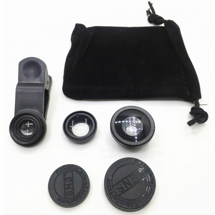 3-in-1 Wide-Angle Fisheye Macro Mobile Phone Lens - BlackLens &amp; Microscopes<br>Form  ColorBlackQuantity1 pieceMaterialAluminium alloy + Multilayer coated lensShade Of ColorBlackCompatible ModelsMobile phone suitable for lens edgeLens EffectsWide angle,Fish eye,MacroInstallation TypeSpring ClampPacking List1 x Spring clamp1 x Fisheye lens1 x Wide-angle lens1 x Macro lens2 x Lens protective caps1 x Cleaning cloth bag<br>