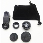 3-in-1 wide-angle fisheye macro mobile phone lens - black