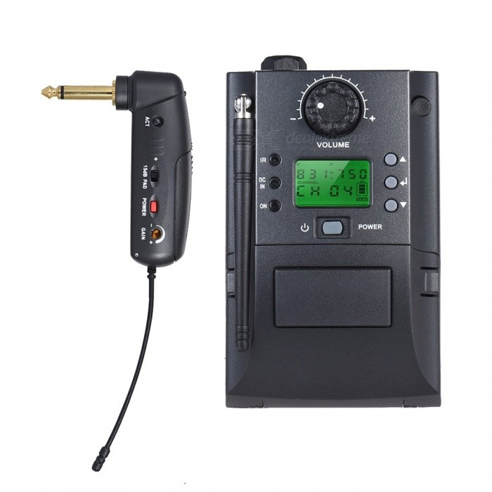 Portable UHF Instrument Wireless Microphone System with ReceiverMicrophones<br>Form  ColorBlack (US Plug, EU Plug)Quantity1 pieceShade Of ColorBlackMaterialABSInterface6.35mmPowered ByOthers,2 * AA Batteries or DC 3V Adapter(batteries not included)Microphone Frequency ResponseFrequency Response: 40Hz-18KHz Frequency Range: 500-980MHzSensitivitySensitivity: 3uV 30dB S/NMic Polar PatternsOmnidirectional,Unidirectional,Cardioid,Directional,Hypercardioid,Shotgun,Bi-directionalImpedance50 ohmPacking List1 x Receiver1 x Transmitter1 x 6.35mm Audio Cable1 x Power Adapter1 x Plastic Suitcase1 x User Manual (English)<br>