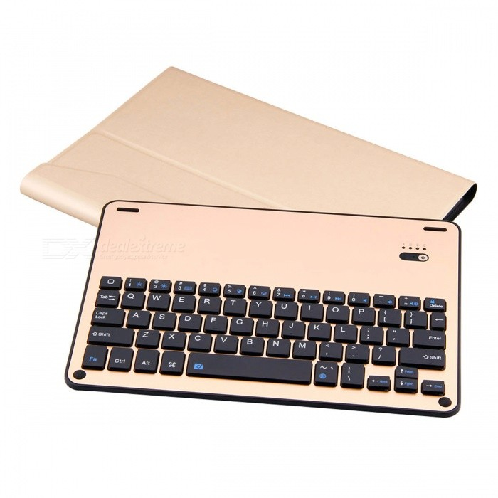 Slim Detachable Keyboard with Case Stand for IPAD Pro 10.5 - GoldenIpad Keyboards<br>Form  ColorGoldenModel2003102Quantity1 DX.PCM.Model.AttributeModel.UnitMaterialAluminum Alloy+PU+ABSShade Of ColorGoldCompatible ModelsOthers,IPAD Pro 10.5Supports SystemiOSConnectionBluetoothBluetooth VersionBluetooth V3.0Keys64Operating Range10 DX.PCM.Model.AttributeModel.UnitPowered ByBuilt-in BatteryBuilt-in Battery Capacity 450 DX.PCM.Model.AttributeModel.UnitStandby Time30 DX.PCM.Model.AttributeModel.UnitCharging Time2-3 DX.PCM.Model.AttributeModel.UnitWorking Time250 DX.PCM.Model.AttributeModel.UnitPacking List1 x Keyboard PU Case1 x Charging Cable1 x Manual<br>
