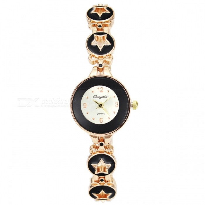 Chaoyada 1141 Womens Elegant Bracelet Quartz WatchWomens Bracelet Watches<br>Form  ColorGolden + BlackModel1141Quantity1 setShade Of ColorGoldCasing MaterialElectroplating steelWristband MaterialElectroplating steelSuitable forAdultsGenderWomenStyleWrist WatchTypeFashion watchesDisplayAnalogDisplay Format12 hour formatMovementQuartzWater ResistantFor daily wear. Suitable for everyday use. Wearable while water is being splashed but not under any pressure.Dial Diameter2.5 cmDial Thickness0.8 cmBand Width0.8 cmWristband Length21 cmBattery1 x LR626 battery (included)Packing List1 x Watch<br>