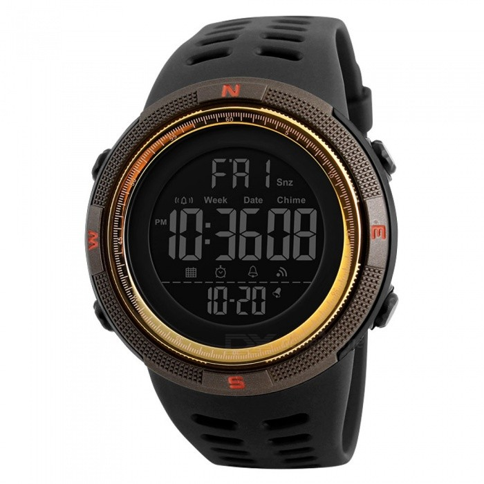 SKMEI 1251 50m Waterproof Mens Digital Sports Watch - GoldenSport Watches<br>Form  ColorGoldenModel1251Quantity1 DX.PCM.Model.AttributeModel.UnitShade Of ColorGoldCasing MaterialPCWristband MaterialPUSuitable forAdultsGenderMenStyleWrist WatchTypeSports watchesDisplayDigitalBacklightGreen lightMovementDigitalDisplay Format12/24 hour time formatWater ResistantWater Resistant 5 ATM or 50 m. Suitable for swimming, white water rafting, non-snorkeling water related work, and fishing.Dial Diameter4.9 DX.PCM.Model.AttributeModel.UnitDial Thickness1.5 DX.PCM.Model.AttributeModel.UnitWristband Length25 DX.PCM.Model.AttributeModel.UnitBand Width2.2 DX.PCM.Model.AttributeModel.UnitBattery1 x CR2032Packing List1 x Watch<br>