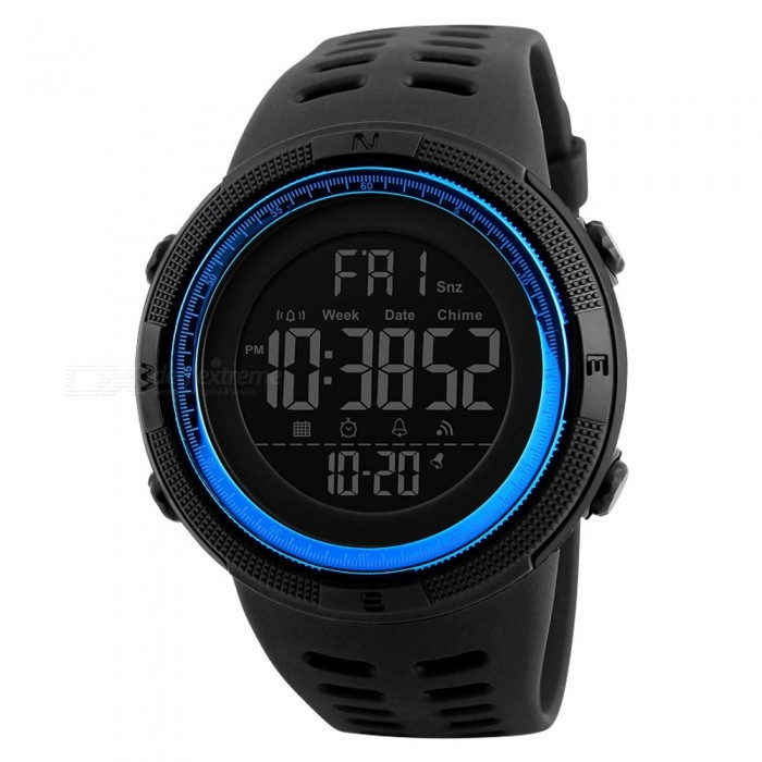 SKMEI 1251 50m Waterproof Mens Digital Sports Watch - BlueSport Watches<br>Form  ColorBlueModel1251Quantity1 DX.PCM.Model.AttributeModel.UnitShade Of ColorBlueCasing MaterialPCWristband MaterialPUSuitable forAdultsGenderMenStyleWrist WatchTypeSports watchesDisplayDigitalBacklightGreen lightMovementDigitalDisplay Format12/24 hour time formatWater ResistantWater Resistant 5 ATM or 50 m. Suitable for swimming, white water rafting, non-snorkeling water related work, and fishing.Dial Diameter4.9 DX.PCM.Model.AttributeModel.UnitDial Thickness1.5 DX.PCM.Model.AttributeModel.UnitWristband Length25 DX.PCM.Model.AttributeModel.UnitBand Width2.2 DX.PCM.Model.AttributeModel.UnitBattery1 x CR2032Packing List1 x Watch<br>