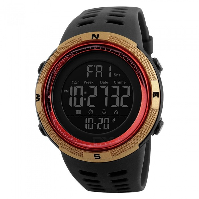 SKMEI 1251 50m Waterproof Mens Digital Sports Watch - Red, GoldenSport Watches<br>Form  ColorRed + GoldenModel1251Quantity1 DX.PCM.Model.AttributeModel.UnitShade Of ColorRedCasing MaterialPCWristband MaterialPUSuitable forAdultsGenderMenStyleWrist WatchTypeSports watchesDisplayDigitalBacklightGreen lightMovementDigitalDisplay Format12/24 hour time formatWater ResistantWater Resistant 5 ATM or 50 m. Suitable for swimming, white water rafting, non-snorkeling water related work, and fishing.Dial Diameter4.9 DX.PCM.Model.AttributeModel.UnitDial Thickness1.5 DX.PCM.Model.AttributeModel.UnitWristband Length25 DX.PCM.Model.AttributeModel.UnitBand Width2.2 DX.PCM.Model.AttributeModel.UnitBattery1 x CR2032Packing List1 x Watch<br>