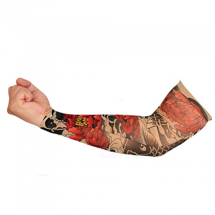 Unisex Riding Sun-Proof Red Peony Pattern Tattoo Cuff (Single One)Gloves<br>Form  ColorBlack + Red (Red Peony Pattern)SizeFree SizeQuantity1 pieceShade Of ColorBlackMaterial92% nylon, 8% ammonia dragonGenderUnisexSuitable forAdultsStyleFashionPalm GirthNo cmMidfinger LengthNo cmGlove Length42 cmPacking List1 x Tattoo cuff<br>