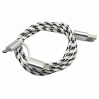 Aluminum Alloy 2-in-1 Type-C / Micro USB Data Charging Cable - White