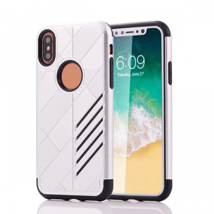 Mini Smile Dual Layer PC TPU Protective Combined Case for IPHONE XPlastic Cases<br>Form  ColorSilverModelI8-JJQuantity1 DX.PCM.Model.AttributeModel.UnitMaterialPC + TPUCompatible ModelsOthers,IPHONE XDesignSolid ColorStyleBack CasesPacking List1 x Case<br>