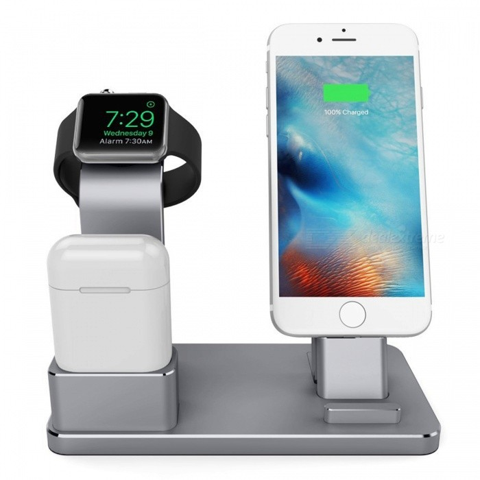 Metal 4-in-1 Apple Watch AirPods IPHONE Charging Stand - Dark GreyMounts and Stands<br>Form  ColorDark GreyMaterialAluminum AlloyQuantity1 pieceCompatible SizeOthers,Apple Watch, AirPods, iPhoneMount TypeDesktopPacking List1 x Aluminum Alloy Charging Stand1 x User Manual<br>