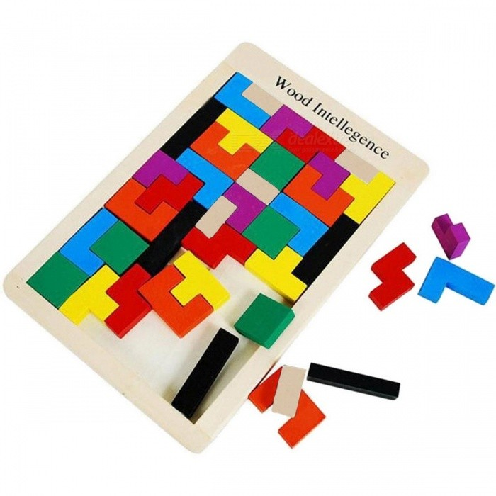 Colorful Wooden Tangram Jigsaw Brain Tetris Block Puzzle Toy 40PCS