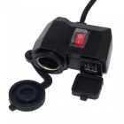 Motorcycle Car Waterproof Dual USB Charger Cigarette Lighter Socket