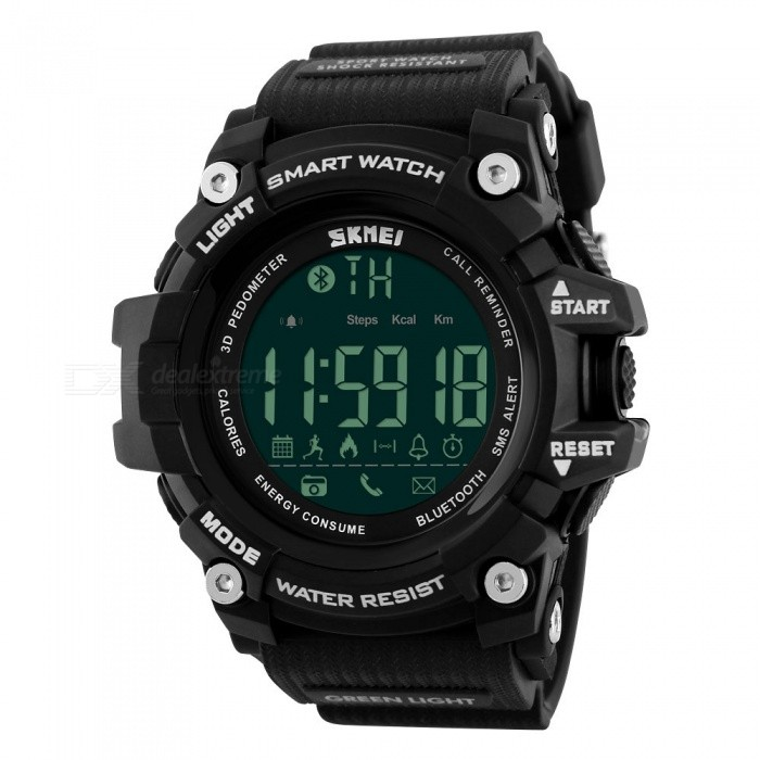 SKMEI 1227 50m Waterproof Digital Smart Sports Watch - BlackSport Watches<br>Form  ColorBlackModel1227Quantity1 DX.PCM.Model.AttributeModel.UnitShade Of ColorBlackCasing MaterialABSWristband MaterialPUSuitable forAdultsGenderUnisexStyleWrist WatchTypeSports watchesDisplayDigitalBacklightGreen lightMovementDigitalDisplay Format12/24 hour time formatWater ResistantWater Resistant 5 ATM or 50 m. Suitable for swimming, white water rafting, non-snorkeling water related work, and fishing.Dial Diameter5.4 DX.PCM.Model.AttributeModel.UnitDial Thickness1.8 DX.PCM.Model.AttributeModel.UnitWristband Length25.5 DX.PCM.Model.AttributeModel.UnitBand Width2.4 DX.PCM.Model.AttributeModel.UnitBattery1 x CR2450Other FeaturesSupporting: Android Andn Iphone IOS SystemPacking List1 x Watch<br>