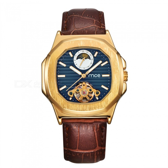 MCE Leather Band Moon Phase Tourbillon Mechanical Watch - BlueMechanical Watches<br>Form  ColorGolden + BlueModel01-0060489Quantity1 DX.PCM.Model.AttributeModel.UnitShade Of ColorGoldCasing MaterialAlloyWristband MaterialGenuine LeatherSuitable forAdultsGenderUnisexStyleWrist WatchTypeFashion watchesDisplayAnalogBacklightnoMovementMechanicalDisplay Format12 hour formatWater ResistantFor daily wear. Suitable for everyday use. Wearable while water is being splashed but not under any pressure.Dial Diameter4.2 DX.PCM.Model.AttributeModel.UnitDial Thickness1.4 DX.PCM.Model.AttributeModel.UnitWristband Length16 DX.PCM.Model.AttributeModel.UnitBand Width2.2 DX.PCM.Model.AttributeModel.UnitBatteryNoPacking List1 x Watch1 x Box<br>
