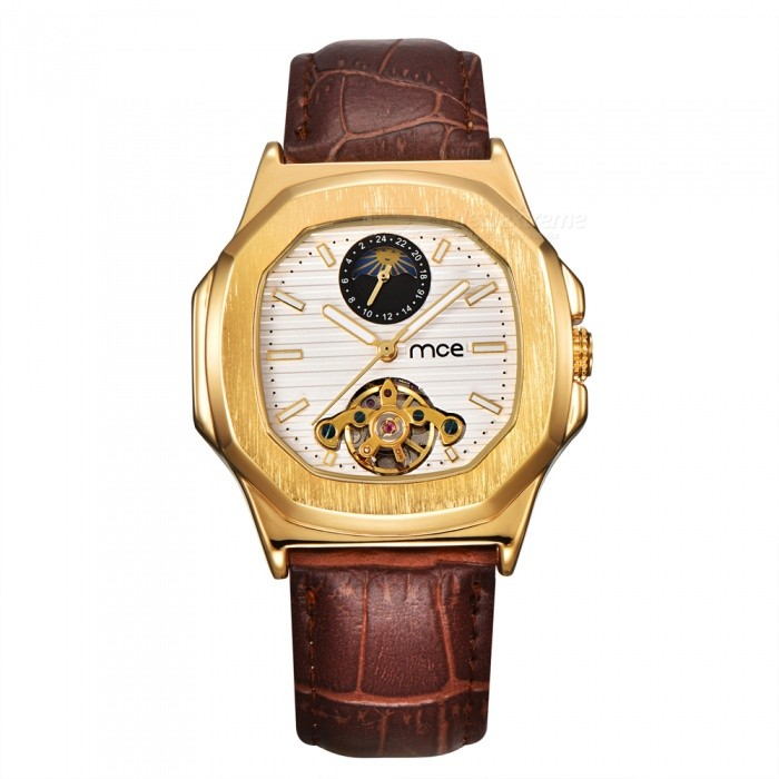MCE Leather Band Moon Phase Tourbillon Mechanical Watch - White + GoldMechanical Watches<br>Form  ColorGolden + WhiteModel01-0060489Quantity1 setShade Of ColorGoldCasing MaterialAlloyWristband MaterialGenuine LeatherSuitable forAdultsGenderUnisexStyleWrist WatchTypeFashion watchesDisplayAnalogBacklightnoMovementMechanicalDisplay Format12 hour formatWater ResistantFor daily wear. Suitable for everyday use. Wearable while water is being splashed but not under any pressure.Dial Diameter4.2 cmDial Thickness1.4 cmWristband Length16 cmBand Width2.2 cmBatteryNoPacking List1 x Watch1 x Box<br>