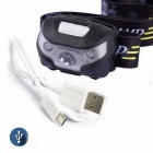 Mini USB Rechargeable 3-Mode 1-LED 80LM White Light Headlamp