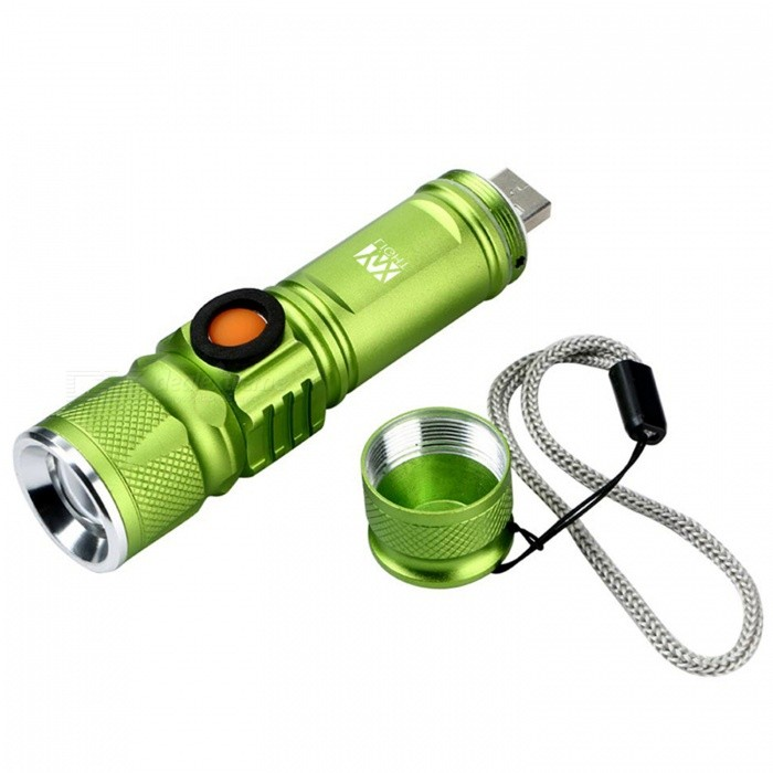 YWXLight 3-Mode USB Flashlight with Built-in Lithium Battery - GreenOther Batteries Flashlights<br>Form  ColorGreenQuantity1 pieceMaterialAviation AluminumOther FeaturesWaterproof,RechargeableBrandOthersEmitter BrandCreeLED TypeOthers,Cree XML-T6Emitter BINT6Number of Emitters1Color BINWhiteWorking Voltage   DC 5 VPower SupplyBuilt-in Lithium BatteryCurrent2.5 AActual Lumens800-900 lumensRuntime2 hoursNumber of Modes3Mode ArrangementHi,Low,Fast StrobeMode MemoryNoSwitch TypeOthersSwitch LocationSideLensPlasticReflectorOthersBeam Range200 mStrap/ClipStrap includedOutput(lumens)801-1000Runtime(hours)1.1-2Packing List1 x YWXLight USB Torch<br>