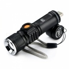 YWXLight 3-Mode USB Flashlight with Built-in Lithium Battery - Black