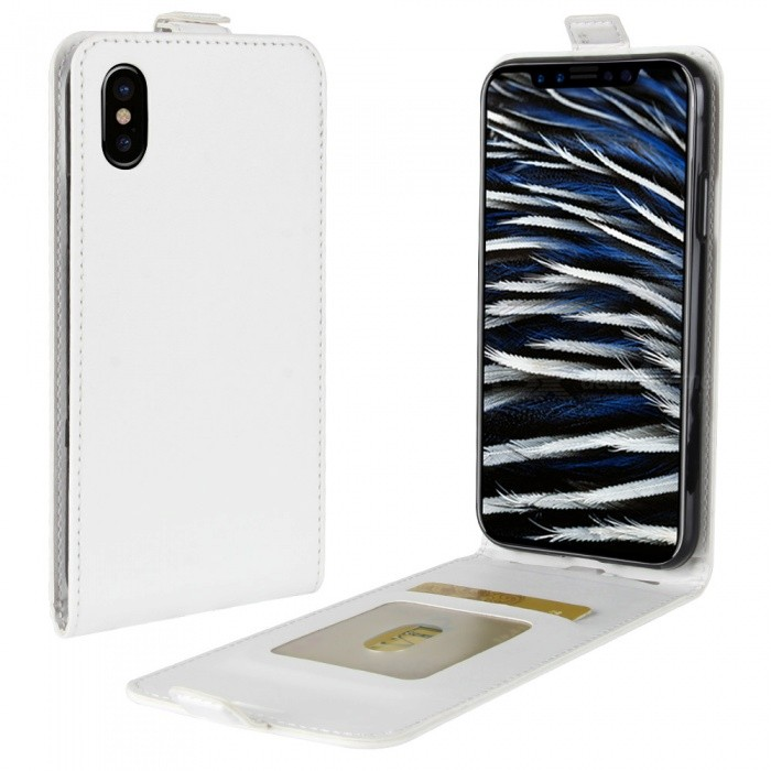 Up-Down Flip Open Protective PU Case for IPHONE X- WhiteLeather Cases<br>Form  ColorWhiteModelN/AQuantity1 pieceMaterialPUCompatible ModelsOthers,IPHONE XStyleFlip OpenDesignSolid Color,Card Slot,With StrapAuto Wake-up / SleepNoPacking List1 x Case<br>