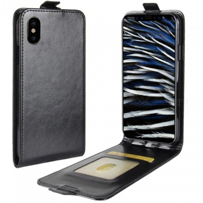 Up-Down Flip Open Protective PU Case for IPHONE X - Black