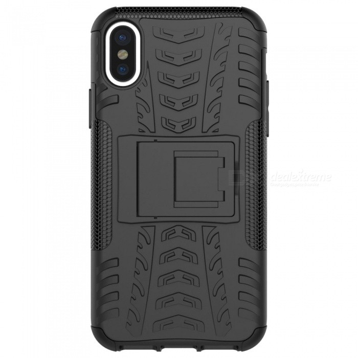 Adeline Protective TPU PC Back Case with Holder for IPHONE X - BlackTPU Cases<br>Form  ColorBlackQuantity1 DX.PCM.Model.AttributeModel.UnitMaterialTPUCompatible ModelsOthers,IPHONE XDesignSolid Color,With StandStyleBack CasesPacking List1 x Case<br>