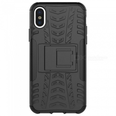 Adeline Protective TPU PC Back Case with Holder for IPHONE X - Black