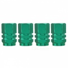 MZ Hexagon Aluminum Car Tire Valve Stem Caps - Green (4 PCS)