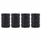 MZ Round Aluminum Car Tire Valve Stem Caps - Black (4 PCS)