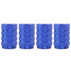 MZ Round Aluminum Car Tire Valve Stem Caps - Blue (4 PCS)