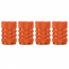 MZ Round Aluminum Car Tire Valve Stem Caps - Orange (4 PCS)